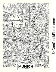 carte, vecteur, ville, détaillé, munich, affiche