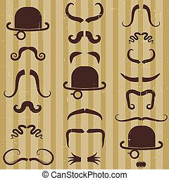 carte, vendange, arrière-plan., gentlement, chapeau, moustache