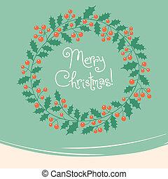 carte, vendange, noël, wreath.