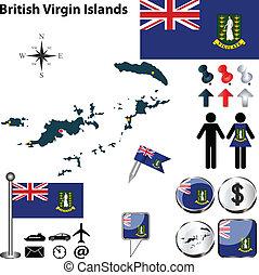 carte, vierge, britannique, îles