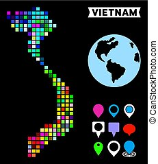 carte, vietnam, coloré, point