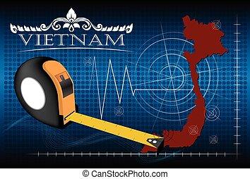 carte, vietnam, vector., règle