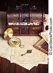 carte, vieux, bois, poitrine trésor, compas, table
