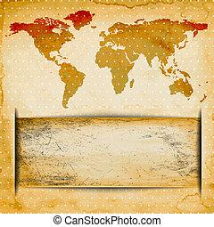 carte, vieux, espace, texte, résumé, papier, fond, grungy, mondiale, ton, texture