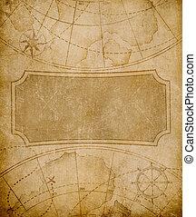 carte, vieux, fond, couverture, gabarit, ou