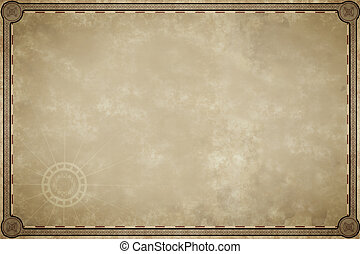 carte, vieux, parchemin, vide