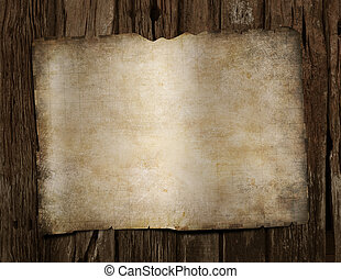 carte, vieux, pirates, bois, trésor, vide, bureau