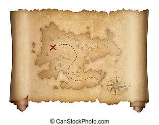 carte, vieux, pirates, trésor, isolé, rouleau