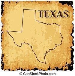carte, vieux, texas