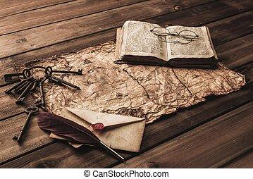 carte, vieux, vendange, enveloppe, clés, livre, tas