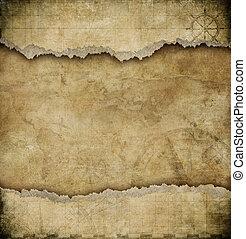 carte, vieux, vendange, papier déchiré, fond
