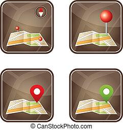 carte ville, à, gps, icônes