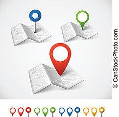 carte ville, couleur, résumé, plié, collection, epingles