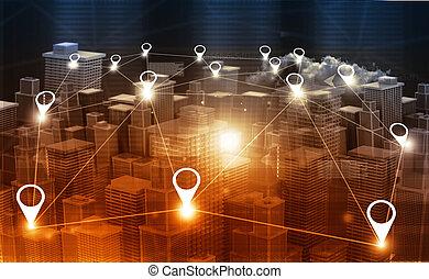 carte ville, ou, réseau