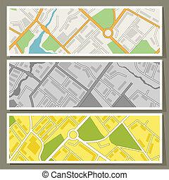 carte ville, résumé, arrière-plan., vecteur, bannières, horizontal