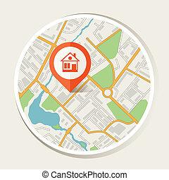 carte ville, résumé, fond, marqueur, home.
