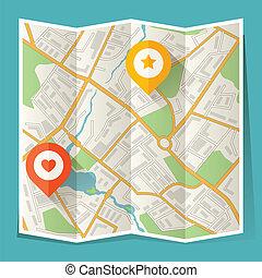 carte ville, résumé, plié, emplacement, markers.