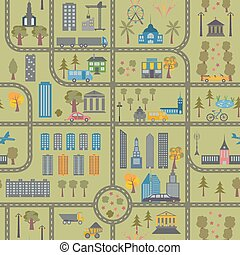 carte ville, seamless, modèle