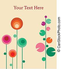carte voeux, à, résumé, fleurs