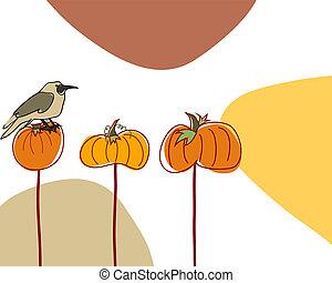 carte voeux, griffonnage, automne