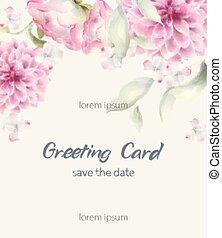 carte voeux, watercolor., vecteur, textures, décor, arrière-plans, crysanthemum, délicat, floral