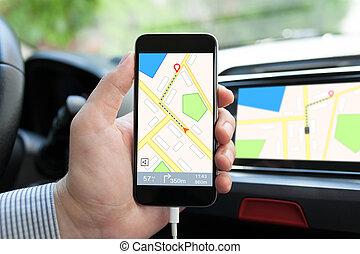 carte, voiture, main, téléphone, tenue, navigation, homme