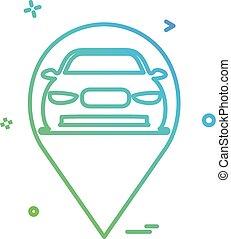 carte, voiture, vecteur, conception, emplacement, icône