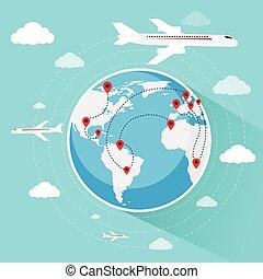 carte, vol, globe, vacances, avion air, mondiale, voyage, réservation, voyage