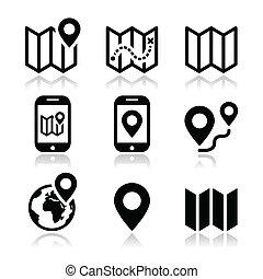 carte, voyage, ensemble, icônes