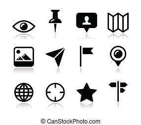 carte, voyager, ensemble, emplacement, icône