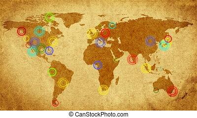carte, voyageur, retro, compass.