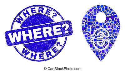 carte, where?, marqueur, mosaïque, euro, timbre, bleu, cachet, gratté