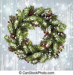 carte, wreath., noël