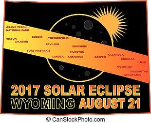 carte, wyoming, éclipse, illustration, solaire, 2017, villes, travers
