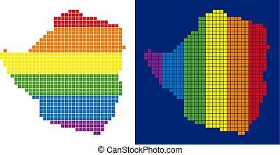 carte, zimbabwe, spectre, pointillé, pixel