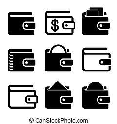 carteira, ícones, jogo, branco, experiência., vetorial