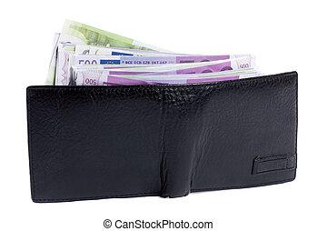 carteira, cheio, de, dinheiro