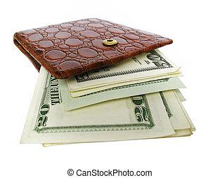 carteira, com, dólares