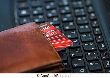 carteira, e, cartão, ligado, teclado