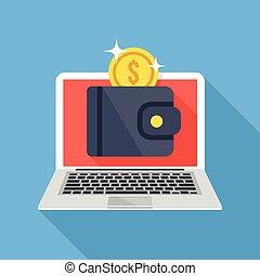 carteira, laptop, moeda, ouro