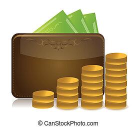 carteira, levantamento, ilustração, dinheiro