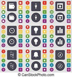 carteira, silueta, janela, compasso, bulbo leve, diagrama, conexão, notificação, flash, ícone, símbolo., um, grande, jogo, de, apartamento, colorido, botões, para, seu, design., vetorial