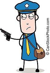 carteiro, apontar, -, arma, ilustração, vetorial, mensageiro, retro, sujeito, caricatura