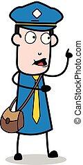 carteiro, apontar, -, ilustração, falando, enquanto, vetorial, mensageiro, sujeito, caricatura, cima
