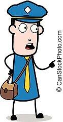carteiro, apontar, -, ilustração, falando, enquanto, vetorial, mensageiro, sujeito, caricatura
