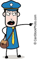 carteiro, apontar, -, ilustração, shouting, vetorial, mensageiro, sujeito, caricatura