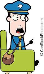 carteiro, apontar, sentando, sofá, -, ilustração, falando, enquanto, vetorial, mensageiro, retro, sujeito, caricatura
