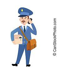 carteiro, isolado, entregar, vetorial, caricatura, pacote