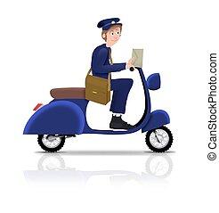 carteiro, ligado, scooter
