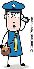 carteiro, mensageiro, falando, -, ilustração, telefone, vetorial, sujeito, caricatura